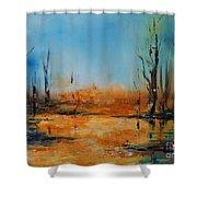 Birches Pond Shower Curtain