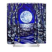 Birches With Shining Water Shower Curtain