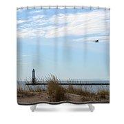 Bird And Lighthouse Shower Curtain