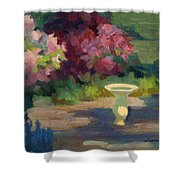 Bird Bath And Rhodies Shower Curtain