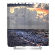 Bird Bath Sunrise Shower Curtain