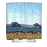 Bird Blind On The Beach Sketch Shower Curtain