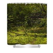 Bird By Bridge In Forest Merged Image Shower Curtain