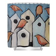 Bird Condo Association Shower Curtain