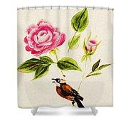 Bird On A Flower Shower Curtain
