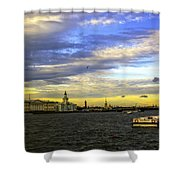 Bird Over The Volga River - St Petersburg Shower Curtain