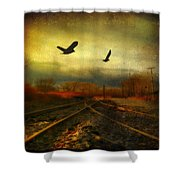 Country Bird Rail Shower Curtain