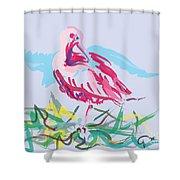 Bird Red Ibis Shower Curtain