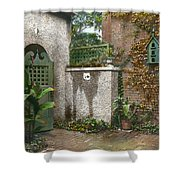 Birdhouse And Gate Shower Curtain by Terry Reynoldson