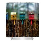 Birdhouse Vignette Shower Curtain