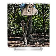 Birdhouses In The Trees Shower Curtain