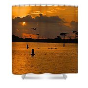 Birds And Bouys Sunrise Shower Curtain