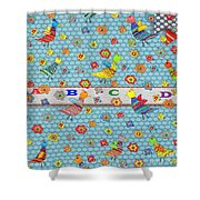 Birds And Flowers For Children Shower Curtain