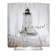 Birds And Lighthouse Shower Curtain