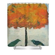 Birds And Maple Shower Curtain