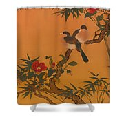 Birds Bamboo And Camellias Shower Curtain