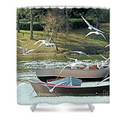 Birds In Flight At The Lake Shower Curtain
