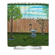 Birds In The Backyard Shower Curtain
