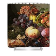 Birds Nest Butterfly And Fruit Basket Shower Curtain by Edward Ladell