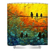 Birds Of A Feather Original Whimsical Painting Shower Curtain by Megan Duncanson