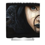 Birds Of Prey- Raven Shower Curtain