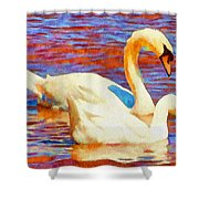 Birds On The Lake Shower Curtain