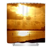 Birds On The Poles Sunrise Shower Curtain