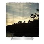 Birds Over Cliff Shower Curtain
