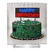 Birthday Cake For Geeks Shower Curtain