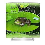 Birthday Greeting Card - Bullfrog On Lily Pad Shower Curtain
