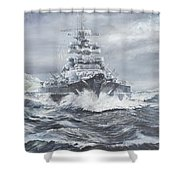 Bismarck Off Greenland Coast  Shower Curtain