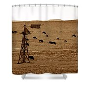 Bison And Windmill Shower Curtain