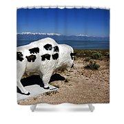 Bison Sculpture Great Salt Lake Utah Shower Curtain