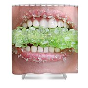 Biting Into Green Rock Candy  Shower Curtain