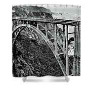 Bixby Creek Bridge Black And White Shower Curtain by Benjamin Yeager