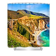Bixby Creek Bridge Oil On Canvas Shower Curtain