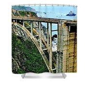 Bixby Creek Bridge Panorama Shower Curtain by Benjamin Yeager