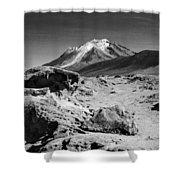 Bizarre Landscape Bolivia Black And White Shower Curtain