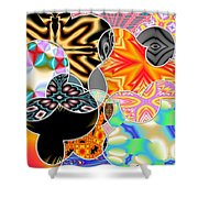 Bizzarro Colorful Psychedelic Floral Abstract Shower Curtain