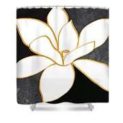 Black And Gold Magnolia- Floral Art Shower Curtain by Linda Woods