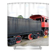 Black And Red Steam Engine Shower Curtain