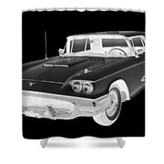Black And White 1958  Ford Thunderbird  Car Pop Art Shower Curtain
