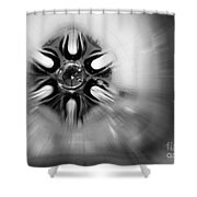Black And White Abstract Burst Shower Curtain