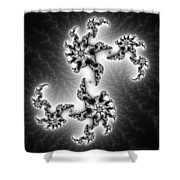 Black And White Abstract Fractal Art Shower Curtain