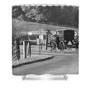 Black And White Amish Horse And Buggy Shower Curtain