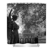 Black And White Angel Shower Curtain