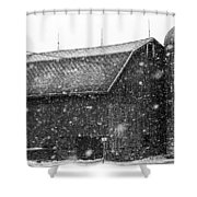Black And White Barn Shower Curtain