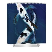 Black And White Bekkos In Deep Blue Pool Shower Curtain