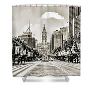 Black And White Benjamin Franklin Parkway Shower Curtain