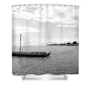 Black And White Boat Shower Curtain